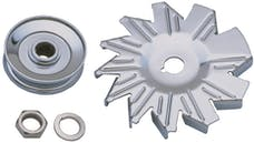 Trans Dapt Performance 9446 Alternator Fan/Pulley Kit; Single Groove; GM and Ford (pass. cars only)-CHROME