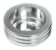 Trans Dapt Performance 9486 CRANKSHAFT Pulley; 3 Groove; CHEVROLET 283-350;LONG W/P-Machined ALUMINUM