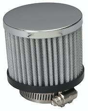 "Trans Dapt Performance 9598 3"" Tall ""CLAMP-ON"" Style Breather w/HOOD; Open Cotton Filter; 1-1/4"" Hole-CHROME"