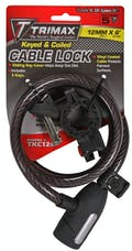 """Trimax TKC126 High Security Cable Lock with Bracket - Coiled 72"""" X 12mm"""
