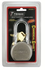 """Trimax TPL2251L TRIMAX Hardened 64mm Solid Steel Padlock with 2.25"""" X 11mm Dia Shackle (Re-"""