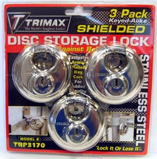Trimax TRP3170 TRIMAX Stainless Steel 70mm Round Padlock with 10mm Shackle 3-Pack Keyed Al