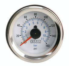 VIAIR 90083 2in Dual Needle Gauge White Face  Illuminated  160 PSI