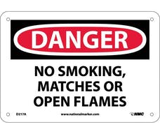 """DANGER, NO SMOKING MATCHES OR OPEN FLAMES"" Sign, 14"" Width x 10"" Height"