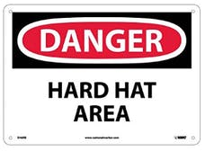 """DANGER HARD HAT AREA"" Sign, 14"" Width x 10"" Height, Rigid Plastic, Black/Red On White"