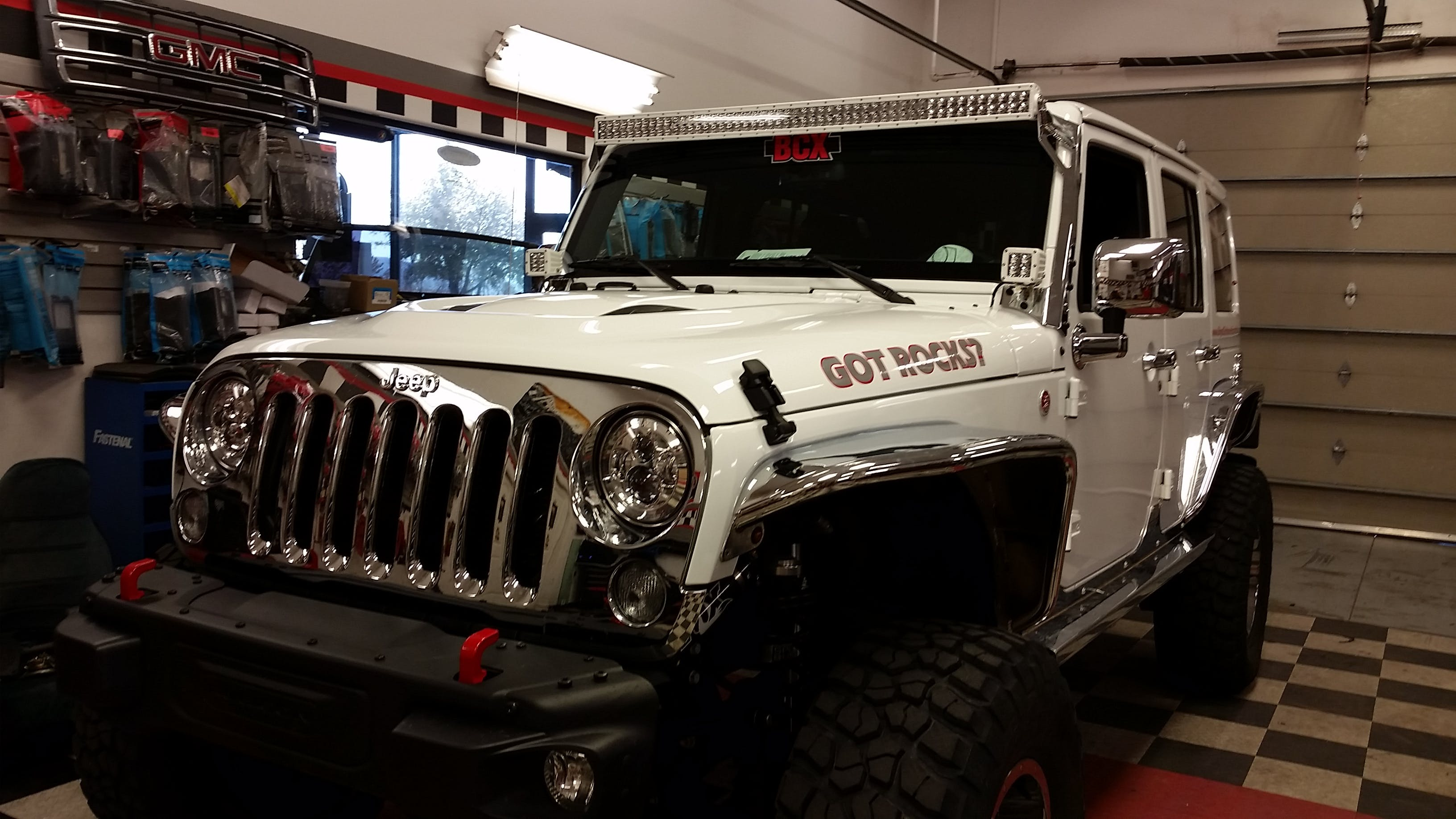 Custom white Jeep