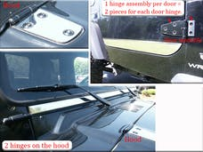 WRANGLER 1997-2006 JEEP 2-door (6 piece Stainless Steel Four pieces cover the two hinges on the two doors and two hinges are on the hood  Hinge Cap Package) HP45090 QAA