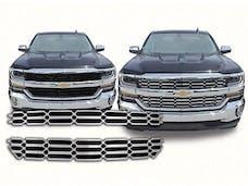 SILVERADO 2016-2018 CHEVROLET 2/4-door, LS & LT ONLY (2 piece Chrome Plated ABS plastic Insert  Grill Overlay) SGC56184 QAA