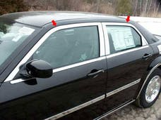 300 2005-2010 CHRYSLER 4-door, Base ONLY, Limousine and Hearse fitment (4 piece Stainless Steel Includes Upper Trim only, NO Pillar Posts, NO window sills.  Window Trim Package) WP45765 QAA
