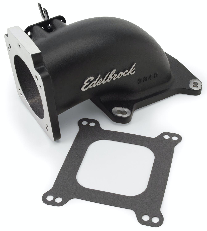 up to 90mm Throttle Body Satin Edelbrock 3848 Low Profile Intake Elbow