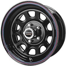 "American Racing AR7676885 - AR767 Steel Wheel - 16""x8 -Bolt Pattern 5x5.5"" - Backspacing 4.97"" - Gloss Black w/ Red and Blue Stripes"