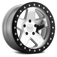 Black Rhino Wheels 1785CRL-25127S71 - Crawler Beadlock Wheel 17x8.5 5x5 Silver w/Black Lip
