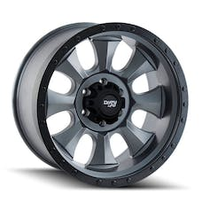 "Dirty Life 9300-2985MGN - Ironman 9300 Series Wheel, 20""x9"", 5x5.5 Bolt Pattern, 5"" Back Spacing - Matte Gunmetal/Black Beadlock"