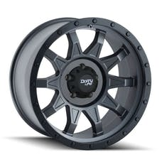 "Dirty Life 9301-7865MG6N - Roadkill 9301 Series Wheel, 17""x8.5"", 5x4.5 Bolt Pattern, 4"" Back Spacing - Matte Gunmetal/Black Beadlock"