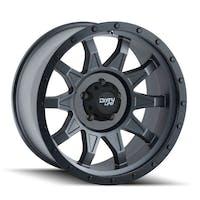 "Dirty Life 9301-8985MG12N - Roadkill 9301 Series Wheel, 18""x9"", 5x5.5 Bolt Pattern, 4"" Back Spacing - Matte Gunmetal/Black Beadlock"