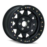 "Dirty Life 9302-7973MB14 - Roadkill Race 9302 Series Wheel, 17""x9"", 5x5 Bolt Pattern, 4.45"" Back Spacing - Matte Black/Black Beadlock"