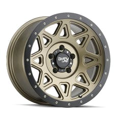 "DIRTY LIFE 9305-7973MGD - Theory 9305 Series Wheel, 17x9"", 5x5"" Bolt Pattern, 4.53"" Back Spacing - Matte Gold w/ Matte Black Lip"