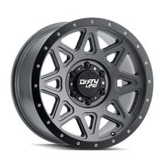 "DIRTY LIFE 9305-7973MGT - Theory 9305 Series Wheel, 17x9"", 5x5"" Bolt Pattern, 4.53"" Back Spacing - Matte Gunmetal w/ Matte Black Lip"