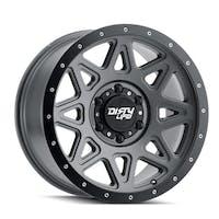 "Dirty Life 9305-8973MGT - Theory 9305 Series Wheel, 18x9"", 5x5"" Bolt Pattern, 5"" Back Spacing - Matte Gunmetal w/ Matte Black Lip"