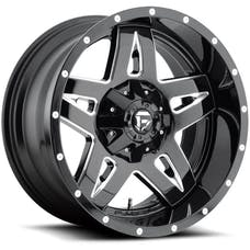 "Fuel Off-Road D55418902645 - Full Blown Series Wheel - 18""x9"" - Bolt Pattern 5x4.5"" and 5x5"" - Backspacing 4.5"" - Offset -12 - Gloss Black"