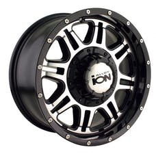 "Ion Wheels 186-7856B - 186 Series - Black/Machined Face Wheel 17"" X 8"" - 5"" X 5"" Bolt Pattern, Back Spacing 5"""