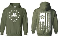 Jeeps Are life - American Flag Logo Hoodie - Military Green - Size Small