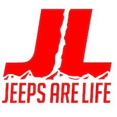 Jeeps Are Life 8x8 Die-Cut Logo Decal - Red