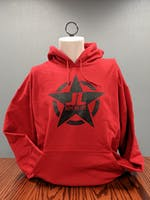 Jeeps Are Life - Star Logo Hoodie - Cherry Red - BLACK LOGO - Large