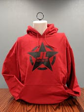 Jeeps Are Life - Star Logo Hoodie - Cherry Red - BLACK LOGO - XL