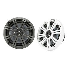 "KICKER 45KM654 - KM Series 6.5"" Marine Coaxial Speakers with 3/4"" Tweeters, 4 Ohm - Charcoal and White Grilles - Pair"