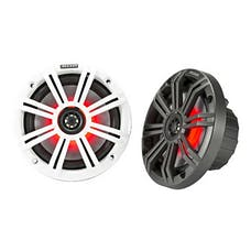 "KICKER 45KM654L - 6.5"" Marine Coaxial Speakers with 3/4"" Tweeters, LED, 4 Ohm - Charcoal and White Grilles"