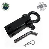 "Overland Vehicle Systems 19109901 Receiver Mount Recovery Shackle 3/4"" 4.75 Ton With Dual Hole Black & Pin & Clip"