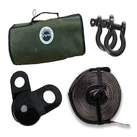 """Overland Vehicle Systems 33-0501 Recovery Wrap Kit, 20"""" Tow Strap, Pair of D-Rings, Snatch Block and Canvas Bag"""