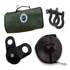 "Overland Vehicle Systems 33-0501 Recovery Wrap Kit, 20"" Tow Strap, Pair of D-Rings, Snatch Block and Canvas Bag"