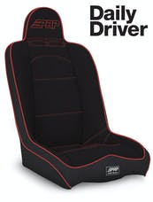 PRP Seats A140110-57 - Daily Driver High Back Suspension Seat Black with Red Outline PRP Seats