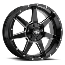 REV Wheels 875M-7903212 - 875 REV 17X9 5X127 / 5X139.7 -12MM Gloss Black and Milled 31 Lbs Milled Aluminum Wheels 875 Offroad REV Series REV Wheels