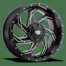 REV Wheels 895M-7903512 - 895 REV 17X9 6X139.7 / 6X135 -12MM Gloss Black and Milled 30 Lbs Milled Aluminum Wheels 895 Offroad REV Series REV Wheels