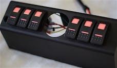 sPOD 620-07LT-LED-B - JK Switch Panel 6 Switch W/2-1/16 Inch Diameter Empty Gauge Hole 07-08 Wrangler JK Blue