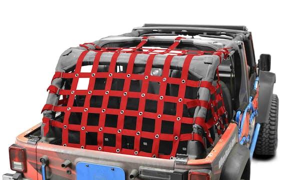 Steinjager Cargo Net Wrangler JK 2007-2018 4 Door Premium Red
