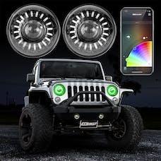"XK Glow XK-7IN-JP-KIT - 2pc 7"" RGB LED Jeep Headlight XKchrome Bluetooth App Controlled Kit w/ Switchback Feature"
