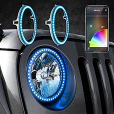 """XKGLOW XK-7RING-KIT - 2pc 7"""" RGB LED External Jeep Halo Ring XKchrome Bluetooth App Controlled Kit w/ Turn Signal and DRL Function"""