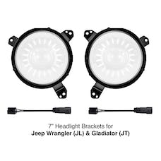 XK Glow XK-MNT-JL - Universal 7in Headlight Mounting Brackets for Jeep Wrangler JL and Gladiator JT Models