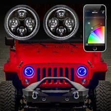 "XK Glow XK042005-KIT - 2pc 7"" Jeep RGB Halo LED Headlight Kit with XKchrome Smartphone App-enabled Bluetooth Jeep JK TJ"