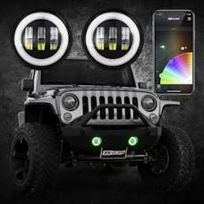 XK Glow XK042010-B - 4in RGB XKchrome Jeep Wrangler JK LED App controlled Fog Light 2pc Kit with Switchback Halo White DRL + Amber Turn Signal