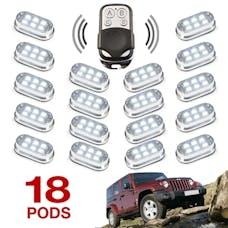 XK Glow XK061002-W - Premium Remote Control 18 Pod 4x4 Off Road Vehicle Rock Light Kit -108 LEDs