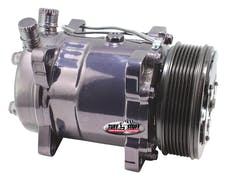 Tuff Stuff Performance 4515NA6G7 Sanden style A/C compressor 508 R134 6 groove pulley black chrome