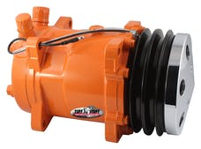 Tuff Stuff Performance 4515NCDPOR SANDEN STYLE A/C COMPRESSOR 508 R134 DOUBLE PULLEY ORANGE W/CHROME CLUTCH COVER