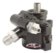 Tuff Stuff Performance 6175ALB TYPE II POWER STEERING PUMP BLACK ALUMINUM W/AN FITTINGS; THROUGH HOLE MOUNTING