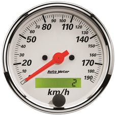 AutoMeter Products 1388-M Gauge; Speedometer; 3 1/8in.; 190km/h; Elec. Prog. w/LCD Odo; Arctic White
