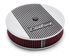 "Edelbrock 4266 Elite 2 Series Polished 14"" Round Air Cleaner - 3"" Pro-Flo Element (Deep Flange)"